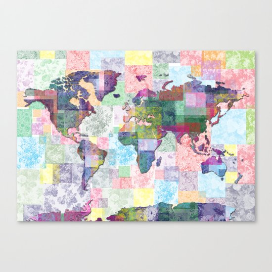 world map floral collage Canvas Print