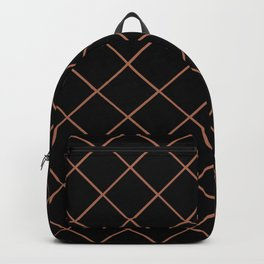 Sherwin Williams Cavern Clay SW7701 Thin Line Stripe Grid on Black Backpack