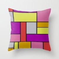mondrian Throw Pillows featuring Mondrian #6 by Ron (Rockett) Trickett