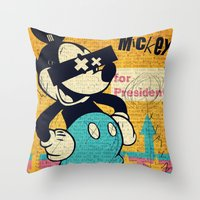 mickey Throw Pillows featuring Tricky Mickey by Alec Goss