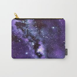 """""""Purple & Payne's Grey Milky Way Galaxy"""" watercolor landscape painting Carry-All Pouch"""