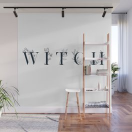 WITCH - floral typography design Wall Mural