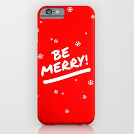 Bright Red Be Merry Christmas Snowflakes iPhone Case