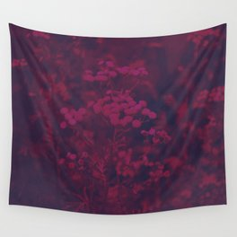 Photograph of wild and wild plants in the field beside the river, in warm color and intense pink Wall Tapestry