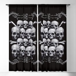 Skulls and Filigree - Black and White Blackout Curtain