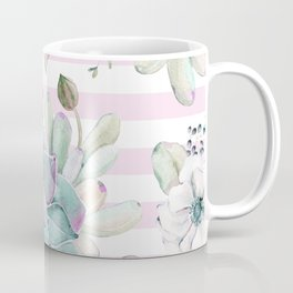 Simply Succulent Garden on Desert Rose Pink Striped Coffee Mug
