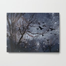 Woodland Crows And Bursting Stars Metal Print