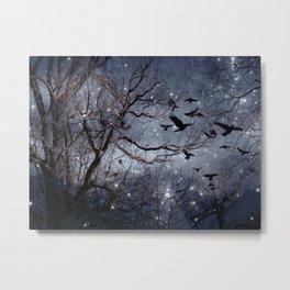 Woodland Crows And Bursting Stars Metal Print