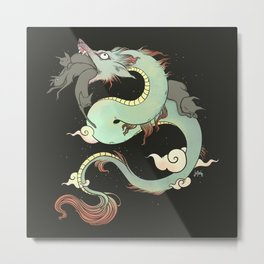 Chinese Dragon With Wolf Head And Black Cats Surreal Artwork Metal Print