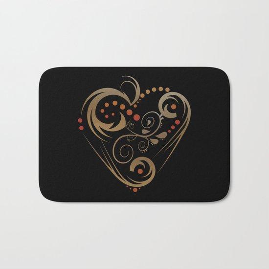 GOLDEN HEART  (valentine art deco abstract love) Bath Mat