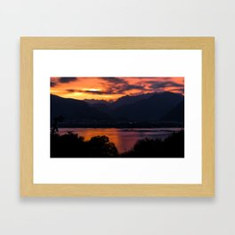 Locarno and Ascona at sunset Framed Art Print