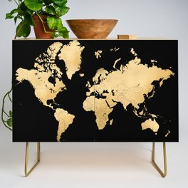 Sleek black and gold world map Credenza