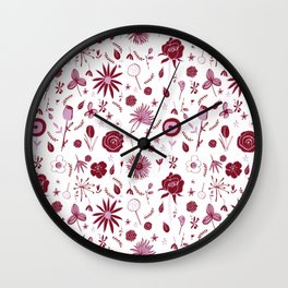 Pink and white floral with wild roses Wall Clock