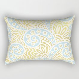 petal paisley, in celadon + gold Rectangular Pillow