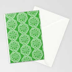 Green white lace floral Stationery Cards