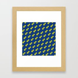 Yellow and blue tropical pineapple pattern Framed Art Print