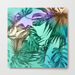 Simply Palm Leaves in Hologram Island Green Metal Print