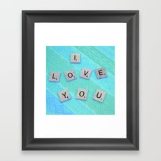 Darling I Love You In Teal Framed Art Print