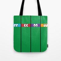ninja turtles Tote Bags featuring Teenage Mutant Ninja Turtles by Jennifer Agu