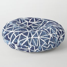 Mozaic Triangle Blue Marble Floor Pillow