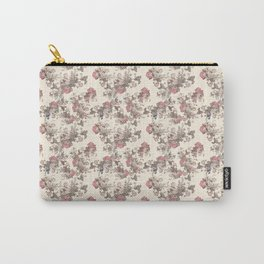 Cream Vintage Flowers Carry-All Pouch