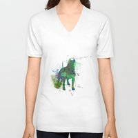 pitbull V-neck T-shirts featuring Green Pitbull by Candice Boux