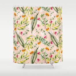 Pattern leaf and flowers II Shower Curtain