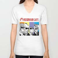 reservoir dogs V-neck T-shirts featuring Reservoir Cats by DennisHart