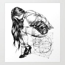 BDSM Bondage Girl, Shibari Art, Rope Bunnie, Kinky, Fetish, Submissive, Bondage Art Print