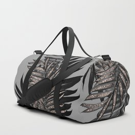 Gray Black Palm Leaves with Rose Gold Glitter #1 #tropical #decor #art #society6 Duffle Bag