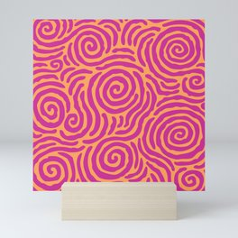 Ripple Effect Pattern Magenta and Orange Mini Art Print
