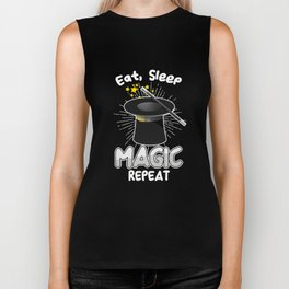 Eat Sleep Magic Repeat Magician Charms Spells Magic-Trick Cards Wand Gift Biker Tank