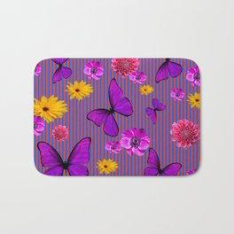 PURPLE BUTTERFLIES ASSORTED FLOWERS Bath Mat