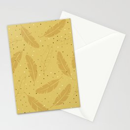 Gold Feather on Gold Stationery Cards