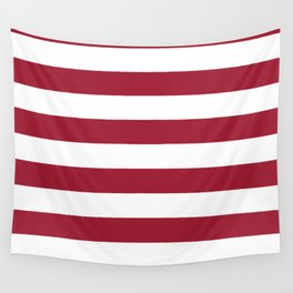 Crimson Red Horizontal Stripes Pattern Wall Tapestry