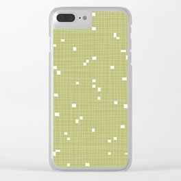 Light Green and White Grid - Missing Pieces Clear iPhone Case