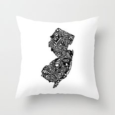 Typographic New Jersey Throw Pillow