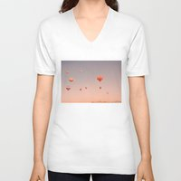 hot air balloons V-neck T-shirts featuring vintage hot air balloons in rio by Bianca Green