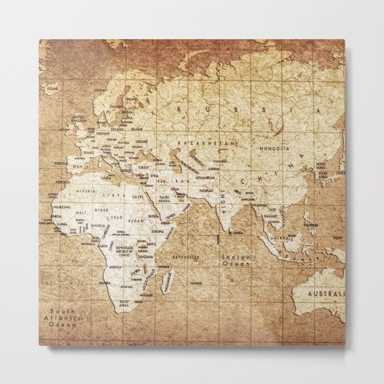 Vintage Map Pattern Metal Print