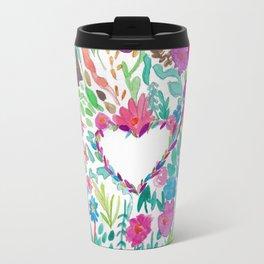 Vibrant Boho Love Floral Watercolor Design Travel Mug