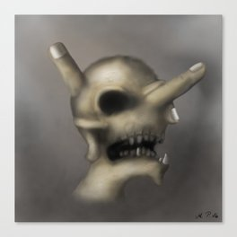 Skull and fingers Canvas Print