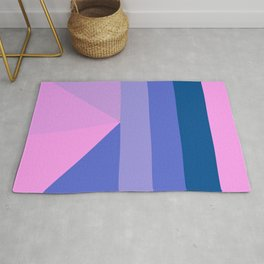 Geometrical modern pastel pink lilac blue stripes triangles Rug