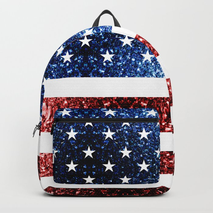 USA flag red blue sparkles glitters Backpack