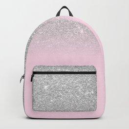 Chic Elegant Blush Pink Silver Glitter Gradient Backpack