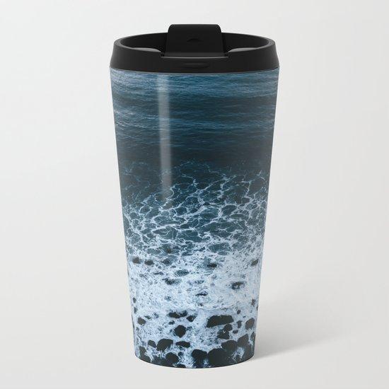 Iceland waves and shapes - Landscape Photography Metal Travel Mug