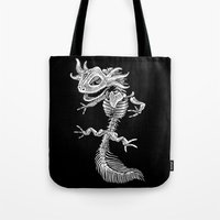 bouletcorp Tote Bags featuring Axolotl Skeleton by Bouletcorp