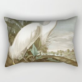 Snowy heron, Birds of America, Audubon Plate 242 Rectangular Pillow