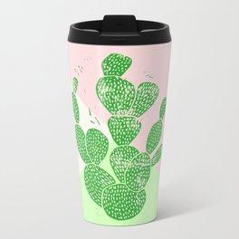 Linocut Cactus Tricolori Metal Travel Mug