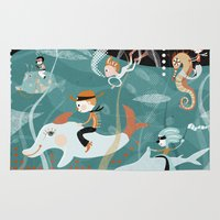 underwater Area & Throw Rugs featuring underwater by Orit Bergman
