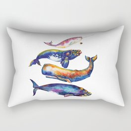 Whale Pyramid #4 - Watercolor Whales Rectangular Pillow
